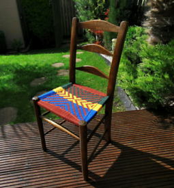 Vintage wooden small chair freshly restored handmade seat unique decor