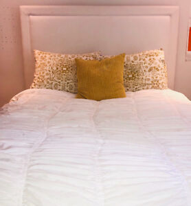Custom White Upholstered Bed and Mattress