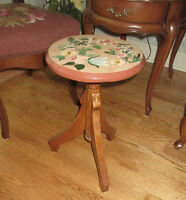 Tole Painted Wood STOOL - Indoors or Outdoors