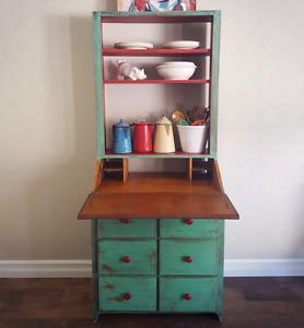 Old Secretary Desk Cabinet Shelf Buffet