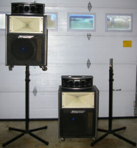 Traynor PA speakers with stands, covers and cables
