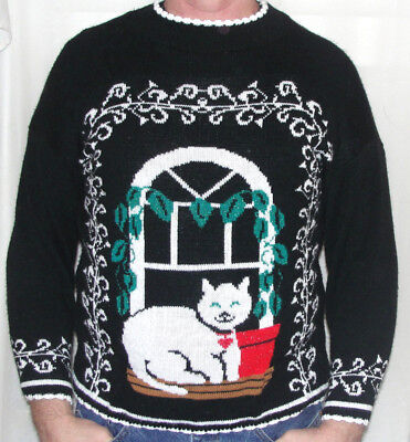 VINTAGE 80s KITTY CAT Ugly Christmas Sweater Mens M Women L HIDEOUS PARTY Ironic