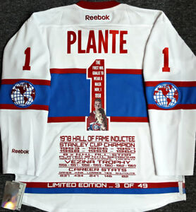 JACQUES PLANTE MONTREAL CANADIENS LIMITD/ED-49 RBK STATS JERSEY