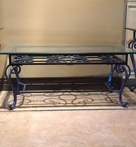 Black iron/steel and glass coffee table