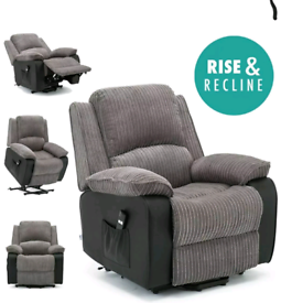 Grey Jumbo cord Dual Motor Riser recliner Armchair free local delivery