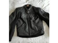 "Arlen Ness Black Leather Motorcycle Jacket Size 40"" chest"