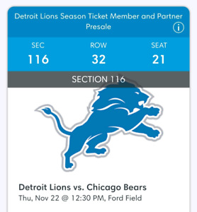 Detroit Lions - Thanksgiving game 11/22.  2 Tickets/$375 CAD.