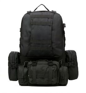 Tactical Military Molle Utility Rucksack Backpack Bag 60L - Blk