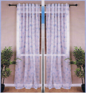 """4 x Panels Sheer Curtain, 57"""" x 96"""" each, Blue BUTTERFLY kid bed"""
