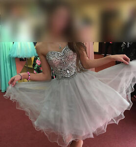 Stunning silver beaded Rianna Couture size 2 grad / prom dress