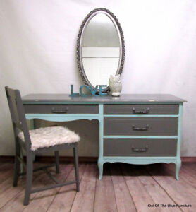 French provincial desk/vanity makeup table & chair