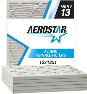 Aerostar 12x12x1 MERV 13 Pleated Air Filter- Pleat(Pack with 6)