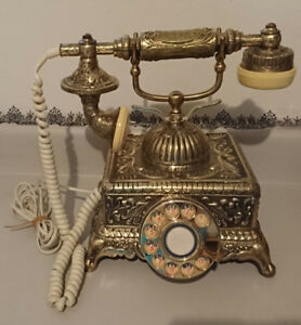 Antique Brass Victorian  Rotary French Phone. Very heavy