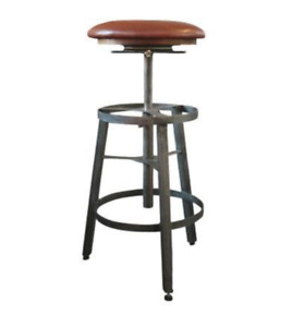 Adjustable industrial style bar stool, leather seat, Clearance