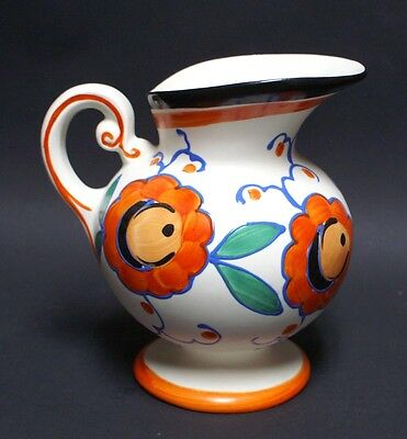VINTAGE HAND PAINTED SLIP DECORATED ART POTTERY CZECH PITCHER DITMAR URBACH