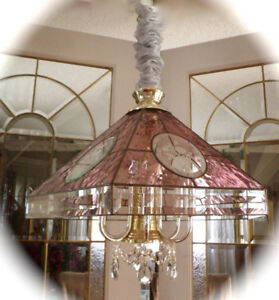 PRETTY ROSE-PINK BEVELLED GLASS CHANDELIER WITH CRYSTALS