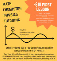 BC certified teacher for Math/Chem/Physics tutoring, -$10 1st le