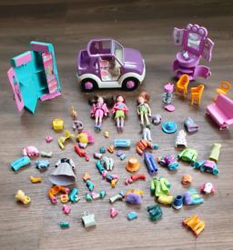 Polly Pocket Bundle Dolls Furniture Car Clothes Mattel Vintage pet smo