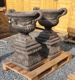 Large stone garden vase urn pot planters on bases
