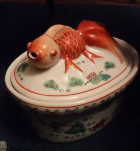 Vintage Koi Fish Lidded Stoneware Serving Bowl