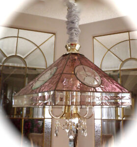 PRETTY ROSE PINK CHANDELIER with CRYSTALS