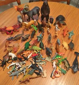 large lot of 70+ PVC / Plastic Dinosaurs Animals Sealife & bugs