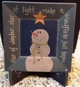 Snowman Plate with Holder