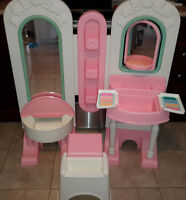 Fisher Price Vintage Double Sided Vanity Beauty Salon & Stool