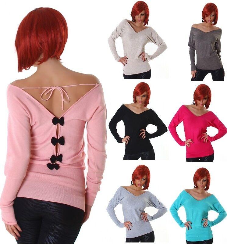 Jela London Pullover Longpullover Pulli Strickpullover  Sweater  Schleifen