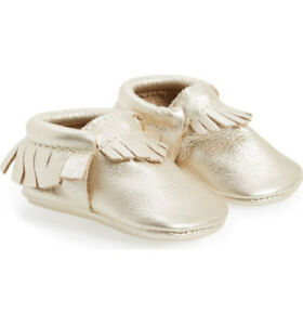 **New** Freshly Picked Metallic Leather Moccasin - Kids Shoes