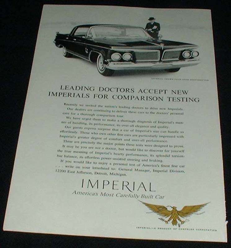 1962 Imperial Crown Southampton Ad, Doctors!!