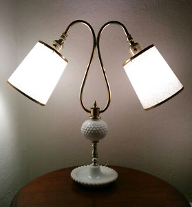 Midcentury Twin Arm Hobnail Milk Glass Desk Table Lamp