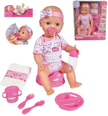 Simba New Born Baby Puppe mit Funktionen 43 cm Funktionspuppe Pipi Babypuppe NEU