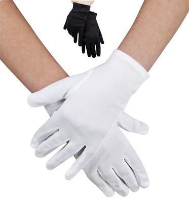 Handschuhe weiß  schwarz  Damen Kinder  Grusel  Halloween Karneval ()