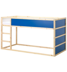White/blue Ikea Kura bunk bed