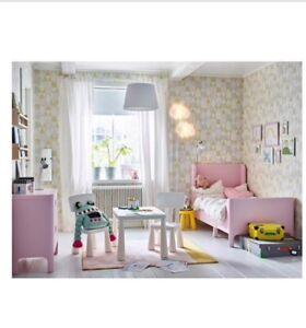 Ikea Busunge Extendable bed, light pink