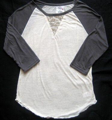 Damen Baseballshirt SON OF JOHN Burnout T Shirt mit Pailetten grau weiß