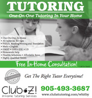 1-ON-1 TUTORING - MATH, FRENCH, ENGLISH, and MORE!
