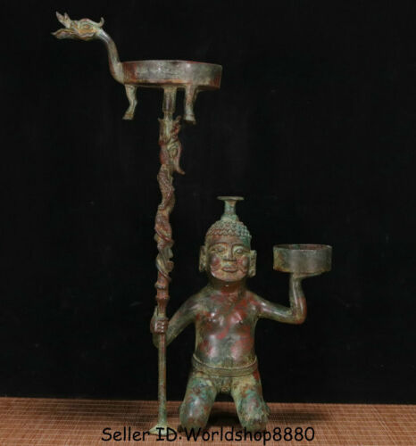 """16.4"""" Old Chinese Bronze Ware Dynasty Kneel People Zun Candle Holder Candlestick"""