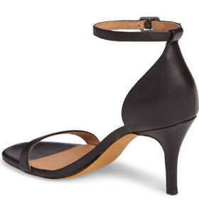 **New**Halogen- Audrey Ankle Strap Sandal-Size-7-Black Leather