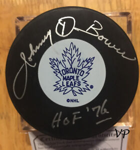 JOHNNY BOWER Autographed Toronto Maple Leafs Vintage Hockey Puck