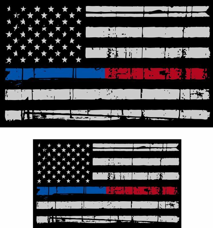 Tattered Police & Fire Thin Blue/Red Line reflective American Flag Decal x 2