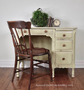 Antique shabby chic writing desk and chair