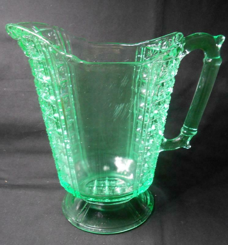 Apple Green Two Panel Daisy in Square Water Pitcher EAPG Glass King & Sons
