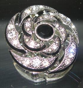 Black & Silver Rhinestone Pin - Brooch