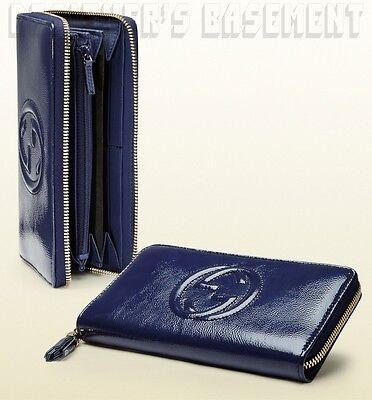 GUCCI blue Patent Leather SOHO Interlocking G Zip Around MEDIUM wallet NIB Auth