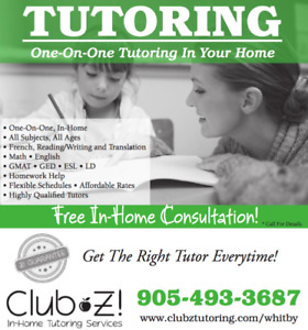 One-on-One  In-Home Tutoring! Math, Science, French, English