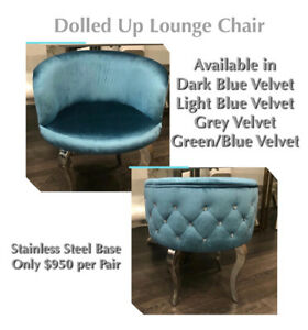 Pair of Velvet & Stainless Steel Lounge Chairs On Sale