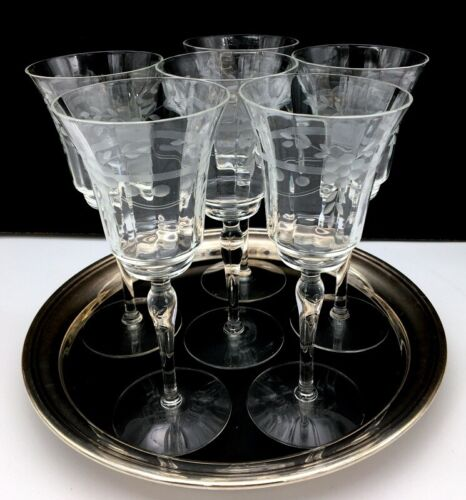 """Vintage Set of 6 Fine Crystal 8"""" Wine Water Goblets Hand Etched Beautiful"""