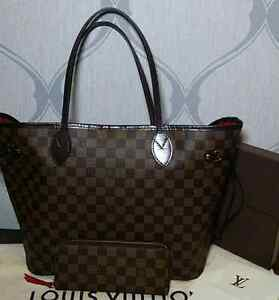 Authentic Louis Vuitton Neverfull MM and Clemence wallet